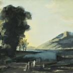 Bschorderet_1983-1-Q_Daprès Claude Gellée dit Le Lorrain, Paysage avec marchands_22.06.83_27.7x39.5_gouache sur papier